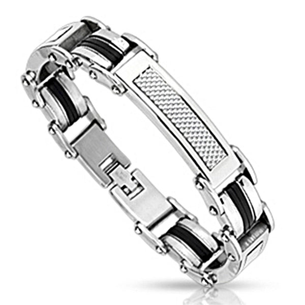 Spikes Steel Silver and White Carbon Inlay Link Bracelet
