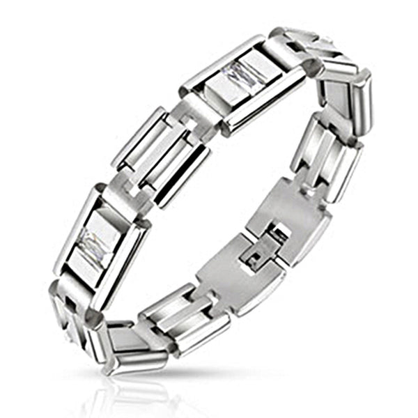 Spikes Steel Rectangle Link Bracelet with Clear Pave CZ Stones
