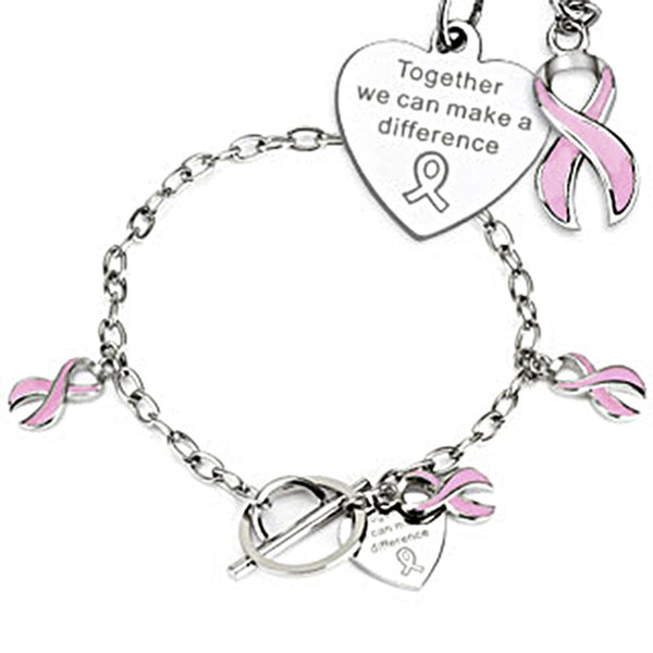 Spikes Steel Pink Ribbon Cancer Awareness Ladies Charm Chain Bracelet
