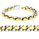 Spikes Two-Tone Square Link Bracelet and Necklace Combination Set