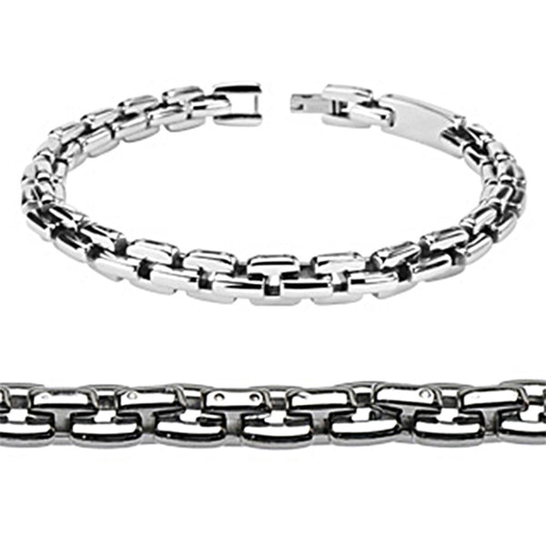 Spikes Stainless Steel Square Link Bracelet and Necklace Combo Set