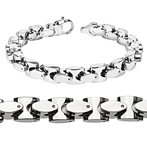 Spikes Stainless Steel Rounded Square Link Bracelet and Necklace Set