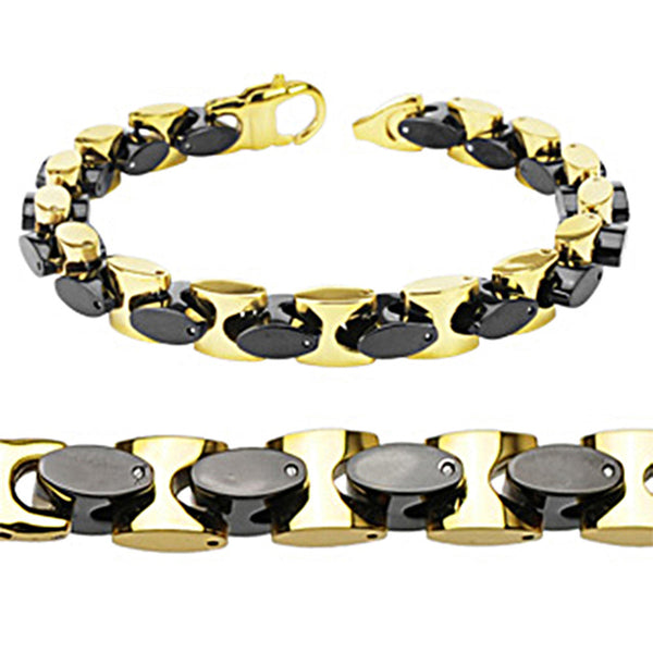 Spikes Gold Ip/ Black IP Rounded Square Link Bracelet and Necklace Set