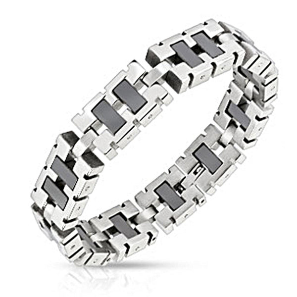 Spikes Steel Square Link Bracelet with Black IP Center
