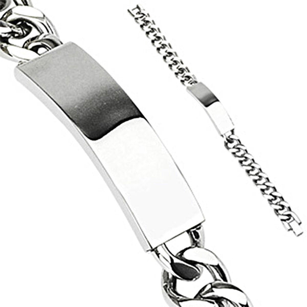Spikes Stainless Steel Engravable ID Plate Curb Link Chain Bracelet
