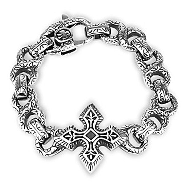 Spikes 316L Steel Textured Figure-8 Link Bracelet with Celtic Cross