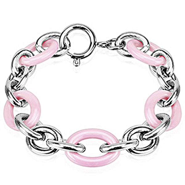Spikes 316L Steel and Pink Ceramic Cord Link Bracelet