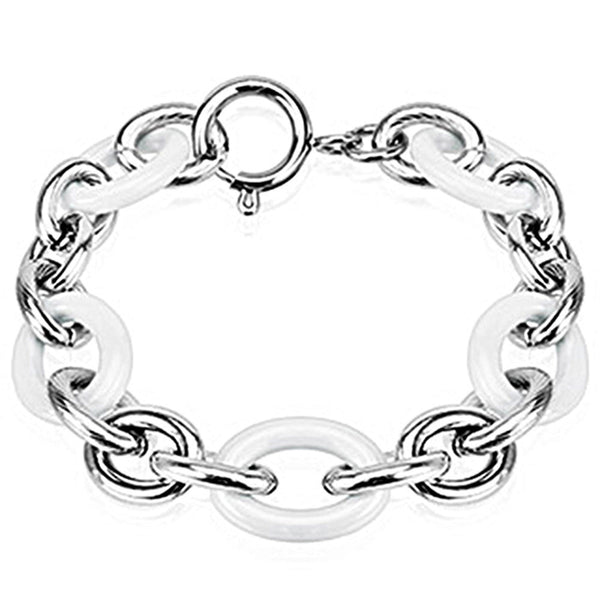 Spikes 316L Steel and White Ceramic Cord Link Bracelet