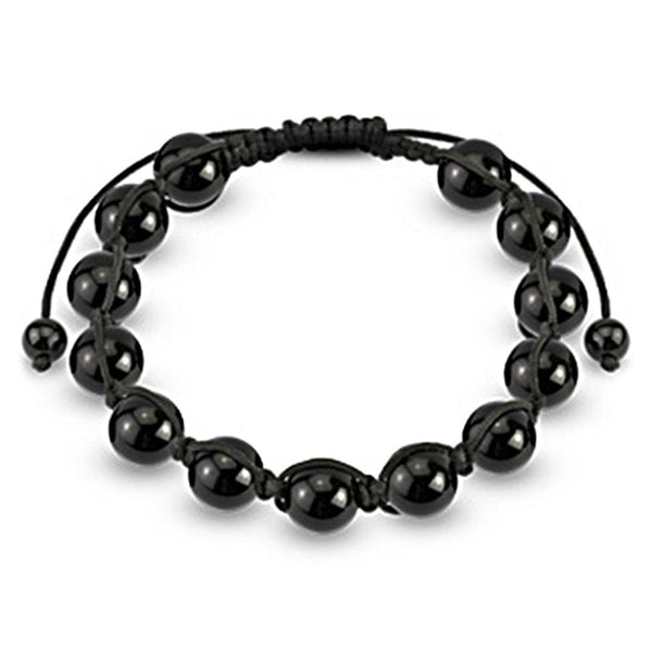 Spikes Smooth Black Metallic 10mm Shamballa Bracelet