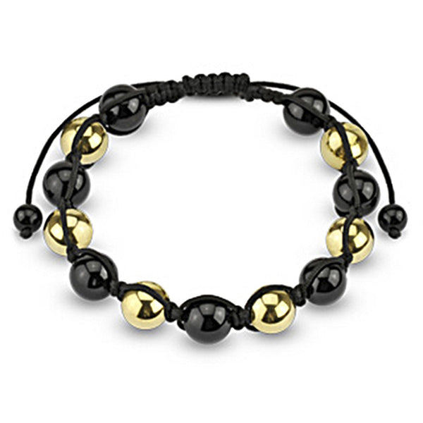Spikes Two Tone Black and Gold 10mm Metallic Shamballa Bracelet