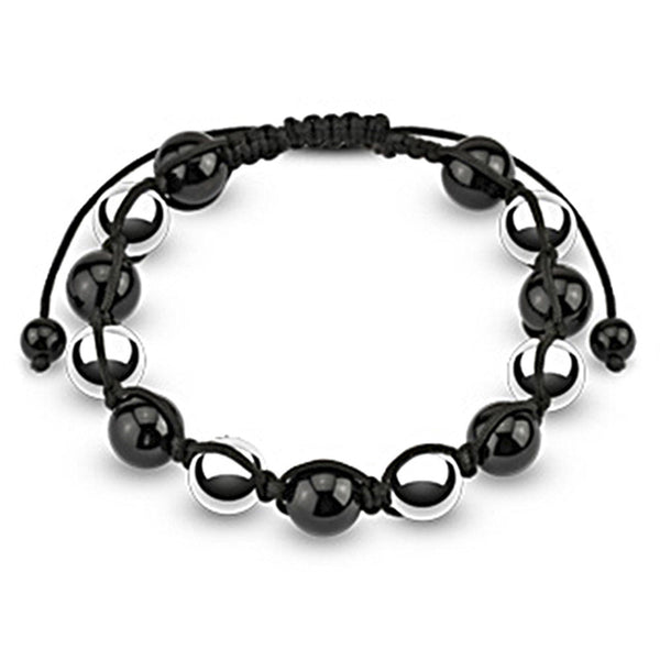 Spikes Two Tone Black and Silver 10mm Metallic Shamballa Bracelet