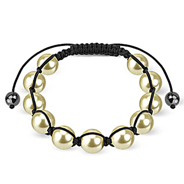 Spikes Classic Off White Pearl 10mm Shamballa Bracelet