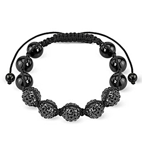 Spikes Black Metallic Crystal Ferido 10mm Shamballa Bracelet