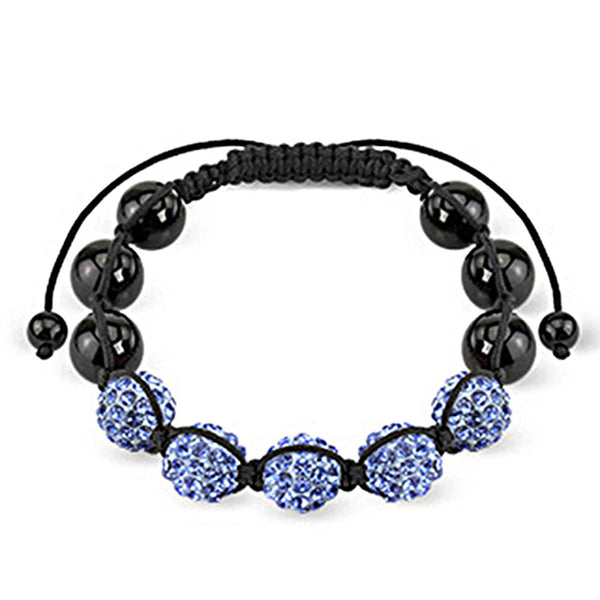 Spikes Two Tone Black and Blue Ferido Crystal 10mm Shamballa Bracelet