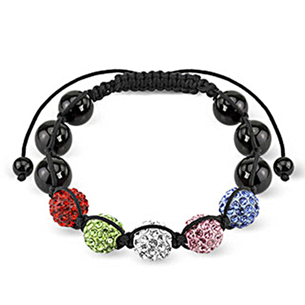 Spikes Multi-Colored Ferido Crystal 10mm Shamballa Bracelet