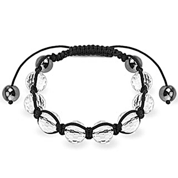 Spikes Clear Faceted and Metallic 10mm Shamballa Bracelet
