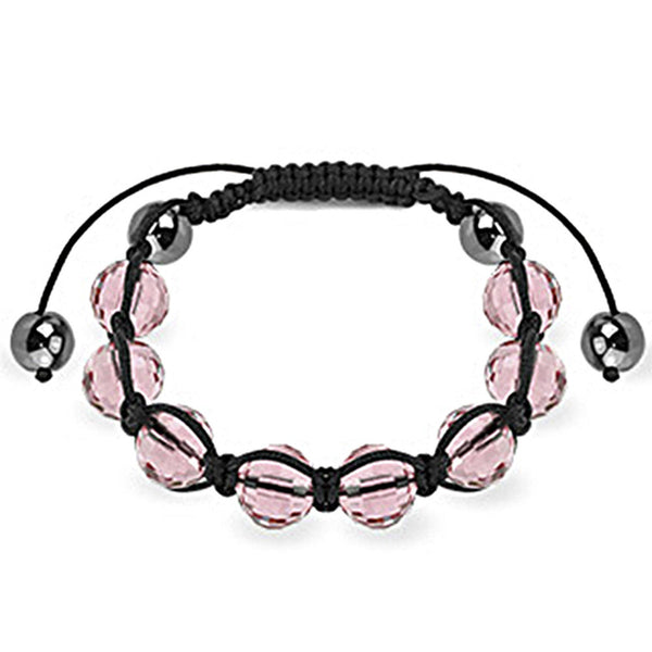 Spikes Pink Faceted and Metallic 10mm Shamballa Bracelet