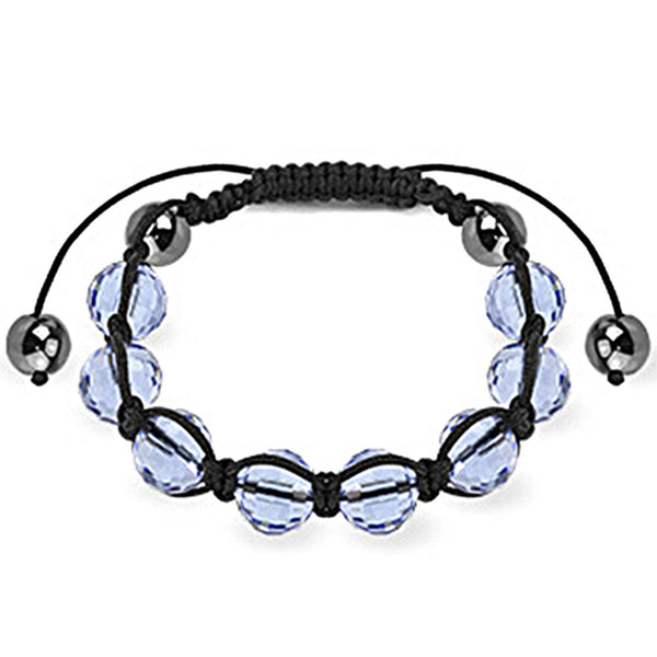 Spikes Blue Faceted and Metallic 10mm Shamballa Bracelet