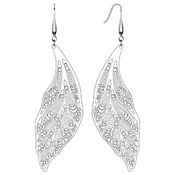 Spikes 316L Steel 22 Gauge Micro Thin Laser Cut Leaf Dangle Earrings