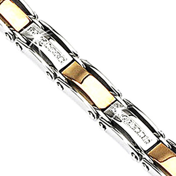 SPIKES 316L Stainless Steel IP Coffee with CZ Stones Inlayed Bracelet
