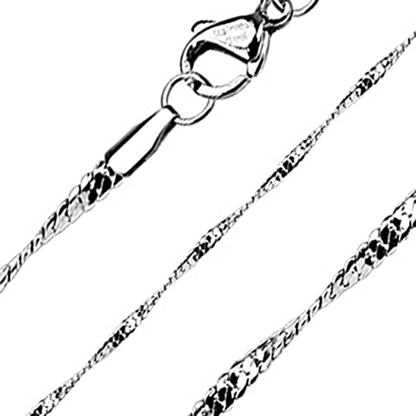 Spikes 316L Steel Twirling Flat Cobra Chain Necklace