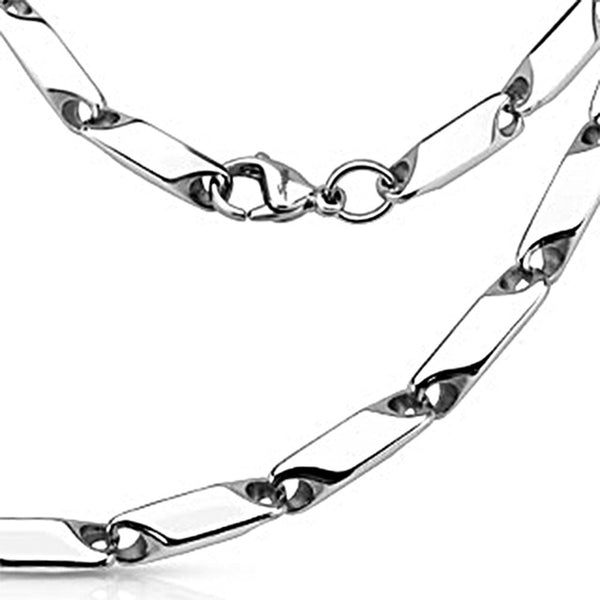Spikes 316L Steel Small Prism Cut Link Necklace