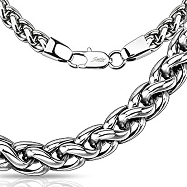 Spikes 316L Steel Multi Tangled Weave Chain Link Necklace