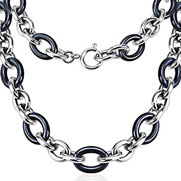 Spikes 316L Steel and Blue Ceramic Cord Chain Link Necklace