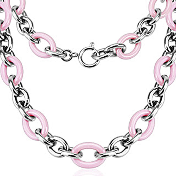Spikes 316L Steel and Pink Ceramic Cord Chain Link Necklace