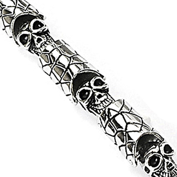 SPIKES 316L Stainless Steel Bracelet with Skull & Scale Link