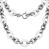 Spikes 316L Steel and White Ceramic Cord Chain Link Necklace