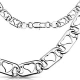 Spikes 316L Steel Hollow Heart Engraved Chain Link Necklace