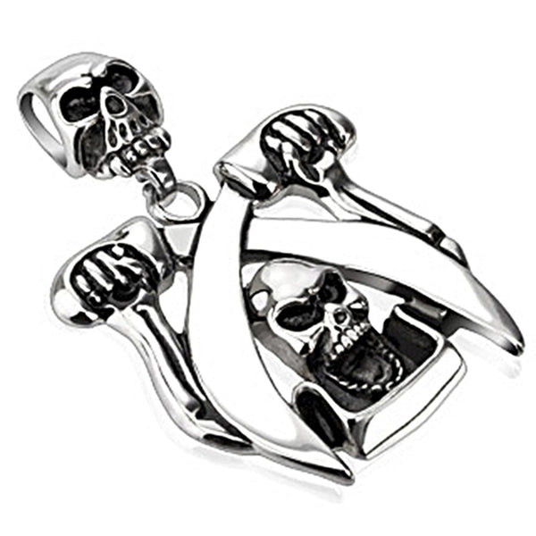 Spikes 316L Steel Double Skull Double Sword Pirate Pendant