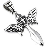 Spikes 316L Steel Polished Templar Cross Sword and Shield Pendant