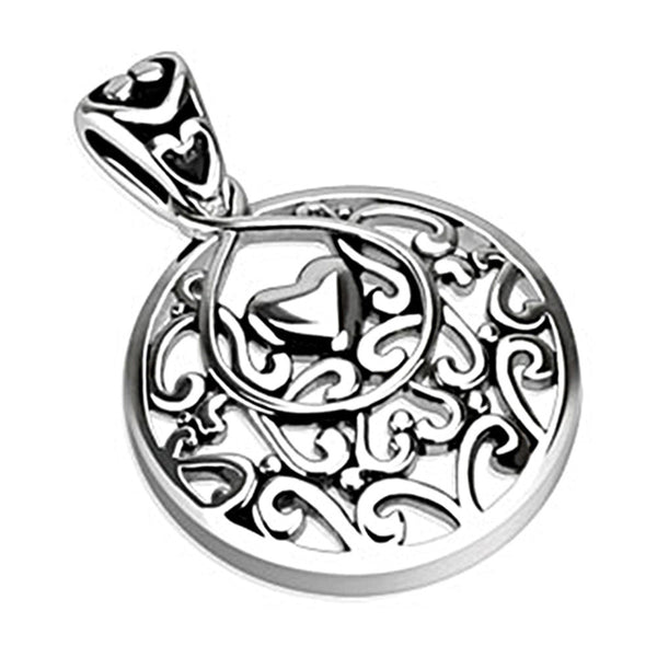 Spikes 316L Steel Polished Hollow Heart and Swirls Drop Pendant