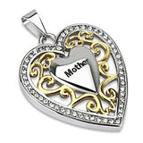Spikes 316L Steel Gold IP CZ Framed Heart Swirled  Mother Pendant