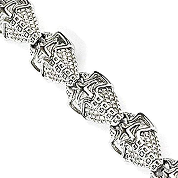 SPIKES 316L Stainless Steel Medieval Shield Link Bracelet