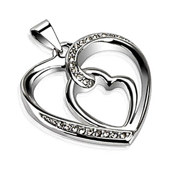 Spikes 316L Steel Corkscrew Heart Pendant with CZ Stones