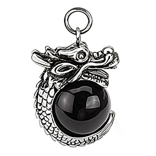 Spikes 316L Steel Black Oxidized Coiled Dragon and Black Orb Pendant
