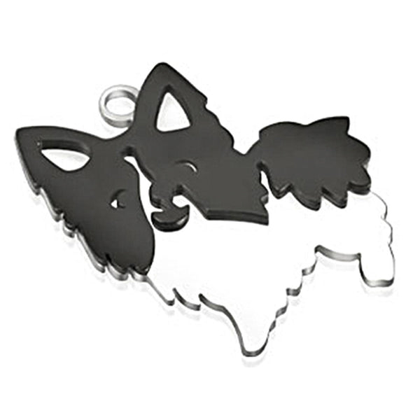 Spikes 316L Steel Two-Tone Black IP Pomeranian Dog Pendant