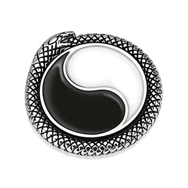 Spikes 316L Steel Black Oxidized Circling Snake Medallion Pendant