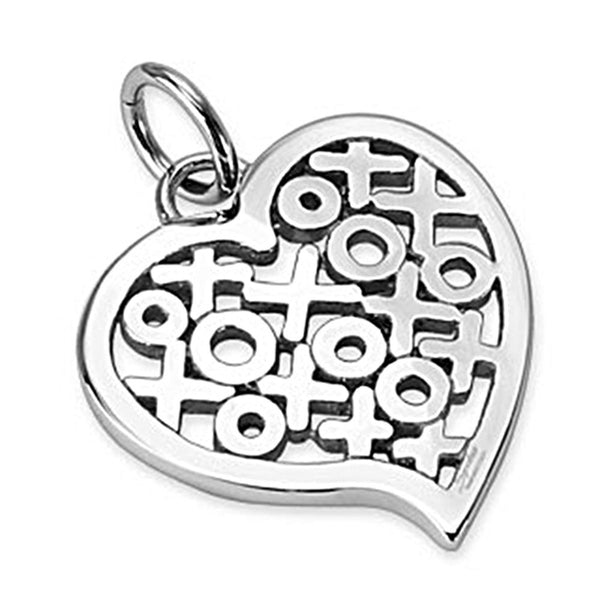 Spikes 316L Steel Heart Shaped Hugs and Kisses Hollow Pendant