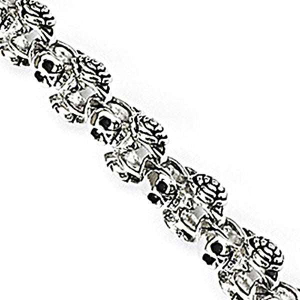 SPIKES 316L Stainless Steel Bracelet with Linked Skull & Rose
