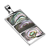 Spikes 316L Steel Triple Abalone Inlay Rectangular Dome Pendant