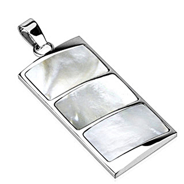 Spikes 316L Steel Triple Mother of Pearl Rectangular Dome Pendant
