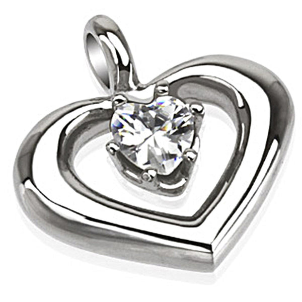 Spikes 316L Steel Embowed Heart Pendant with Clear CZ Stone