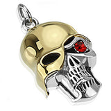 Spikes 316L Steel Gold IP Unmasked Skull with Single Red Eye Pendant