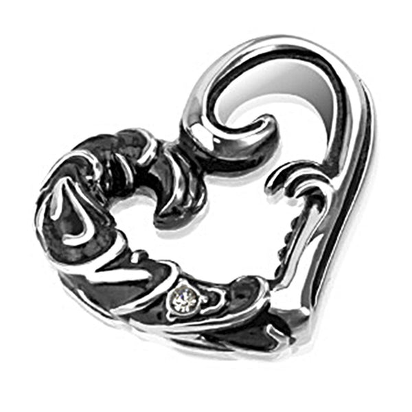 Spikes 316L Steel Black Oxidized Twining Vine Heart Pendant