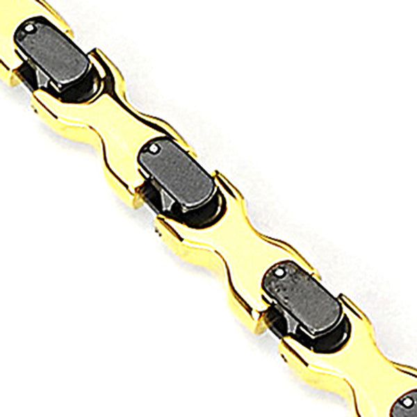 SPIKES 316L Stainless Steel Bracelet with Gold & IP Black X-Shape Links