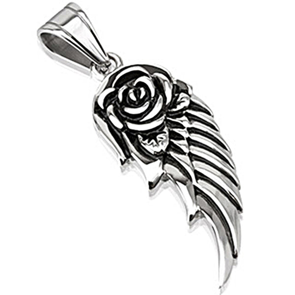 Spikes 316L Steel Black Oxidized Rose Flower Winged Pendant